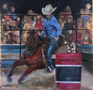 barrel racer - acrylic on a pallette