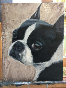 finished dog portrait of rebel