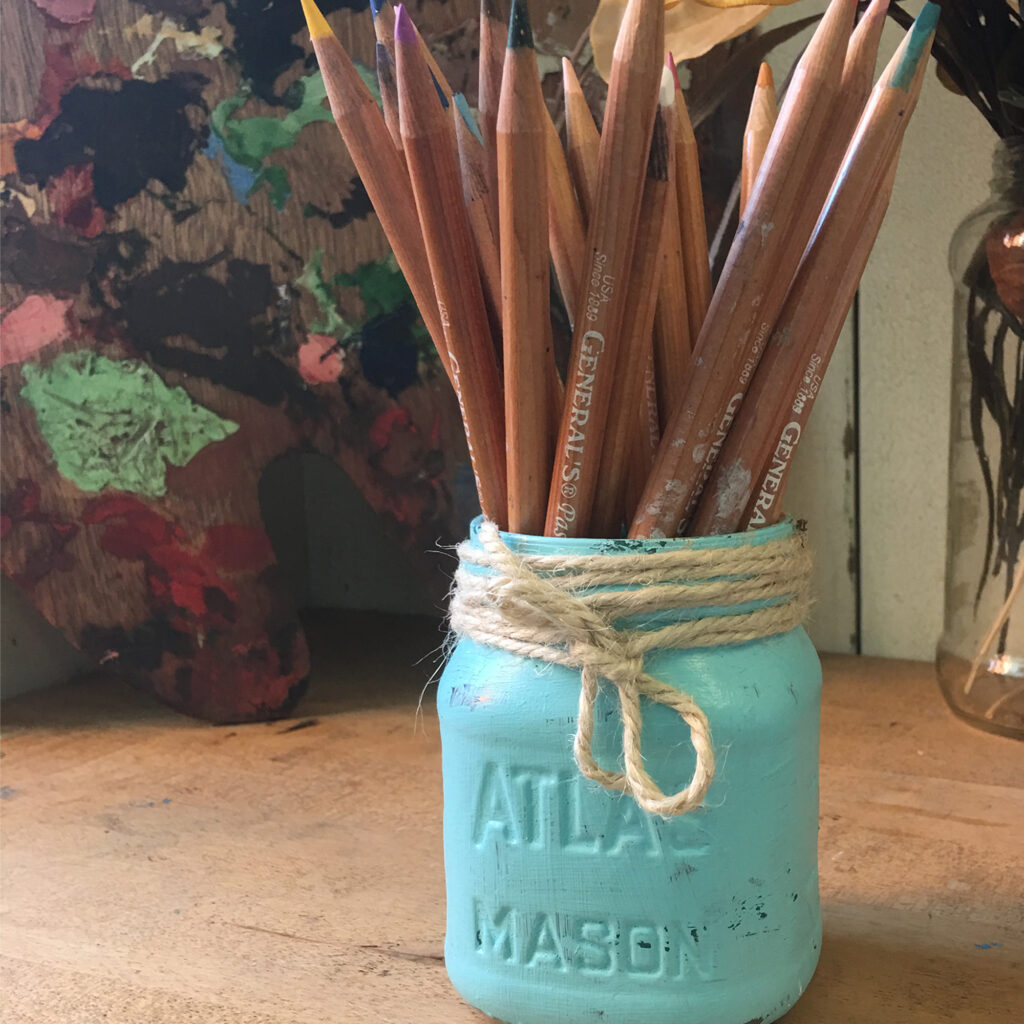 Painted mason jar with a new job